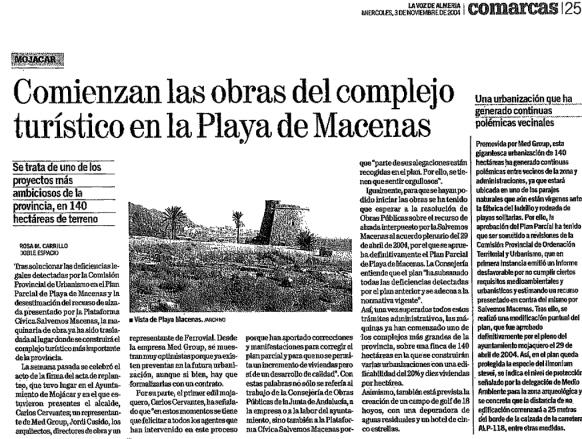 Comienzan las obras de Macenas - La Voz de Almería 3 de Noviembre 2004
