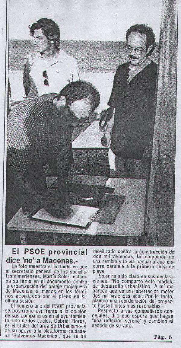 PSOE Provincial firma contra la urbaniz. del paraje