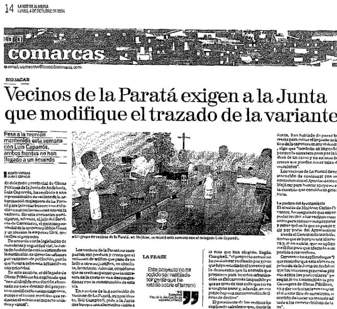 Vecinos de Paratá Exigen a la Junta modificacion del  trazado de la variante